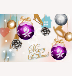 merry christmas card with cute decorations vector image