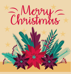 Merry christmas card with flowers garden vector