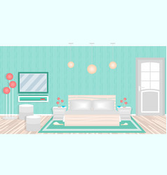 modern bedroom in hotel including furniture vector image
