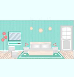 Modern bedroom in hotel including furniture vector