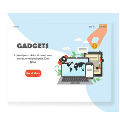 modern gadgets website landing page design vector image