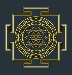 Monocrome outline Sri yantra vector