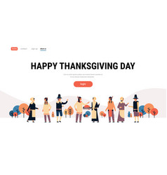 native american indian people thanksgiving day vector image