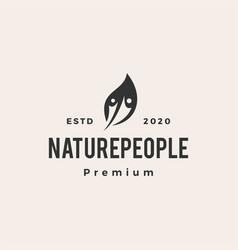 nature leaf people hipster vintage logo icon vector image