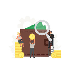 office people store and collect money invest vector image