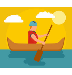 One man rafting background flat style vector