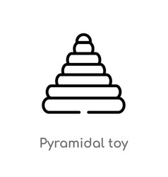 Outline pyramidal toy icon isolated black simple vector