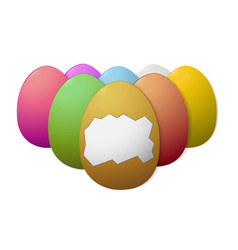 painted easter eggs on white background isolated vector image