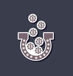 Paper sticker on stylish background good luck logo vector