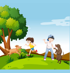 people with dogs in park vector image