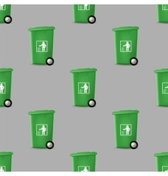 Plastic Green Trashcan Seamless Pattern vector