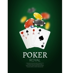 Poker chips and cards background casino vector