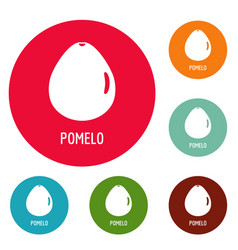 Pomelo icons circle set vector