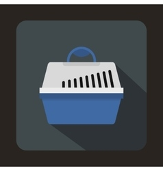 Portable cage for pets icon flat style vector