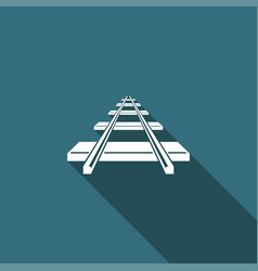 railroad icon isolated with long shadow vector image