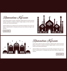 ramadan kareem set web sites with mosque and text vector image
