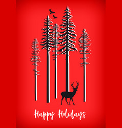 Red christmas card with reindeer birds and trees vector