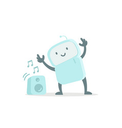 Robot toy listens to music and dances cute small vector
