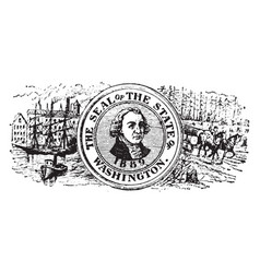 Seal of the state of washington 1904 vintage vector