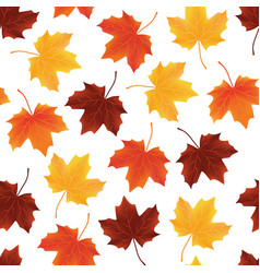 seamless pattern texture of fallen autumn leaves vector image