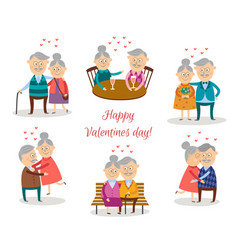 senior couples in love at valentine s day vector image