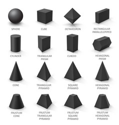 set basic 3d shapes black geometric solids on vector image