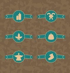 Set christmas decoration vintage emblems vector