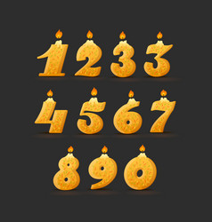 set colorful birthday candle numbers with vector image