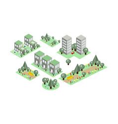 set isometric city elements parks vector image