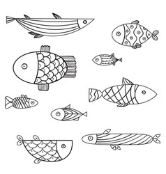 set of cute sea fish illsutration vector image