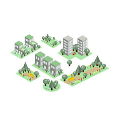 set of isometric city elements parks with vector image