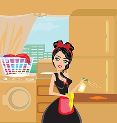 Sexy pinup style french maid cleans the kitchen vector image