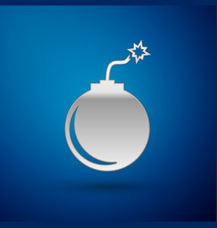 Silver bomb ready to explode icon isolated on blue vector