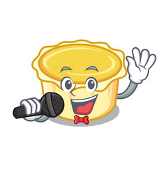 Singing egg tart mascot cartoon vector
