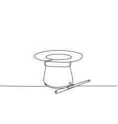 Single continuous line drawing magic hat and wand vector