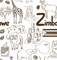 Sketch Zimbabwe seamless pattern vector