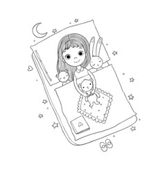 sleeping girl bain bed with toys time to vector image