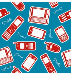 Smartphones and mobile phones on a blue background vector image