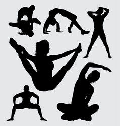 sport male and female silhouette vector image