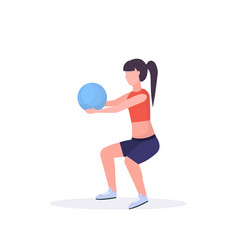 sporty woman doing squat exercises with fitness vector image