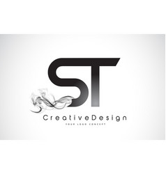 St letter logo design with black smoke vector