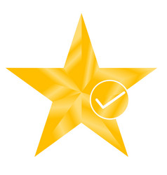 star favorite sign web icon with check mark star vector image