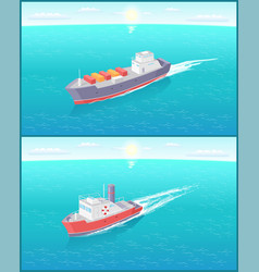 Steamboat marine transport vessel cargo ship icons vector
