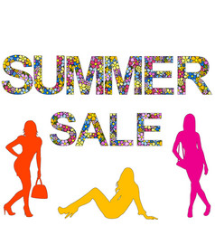 summer sale background with women silhouettes vector image
