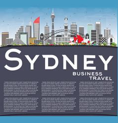 Sydney australia skyline with gray buildings blue vector