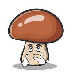 Thinking mushroom character cartoon vector