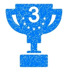 Third prize cup grainy texture icon vector