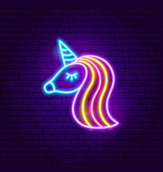Unicorn neon sign vector
