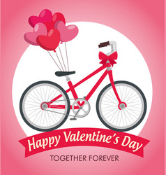 Valentine day celebration with bicycle transport vector