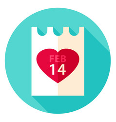 valentine day paper circle icon vector image